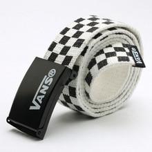 Mens Womens belt Waistband 110cm Black White Plaid Belt Canvas Checkerboard Belts Cummerbunds Waist Casual Checker