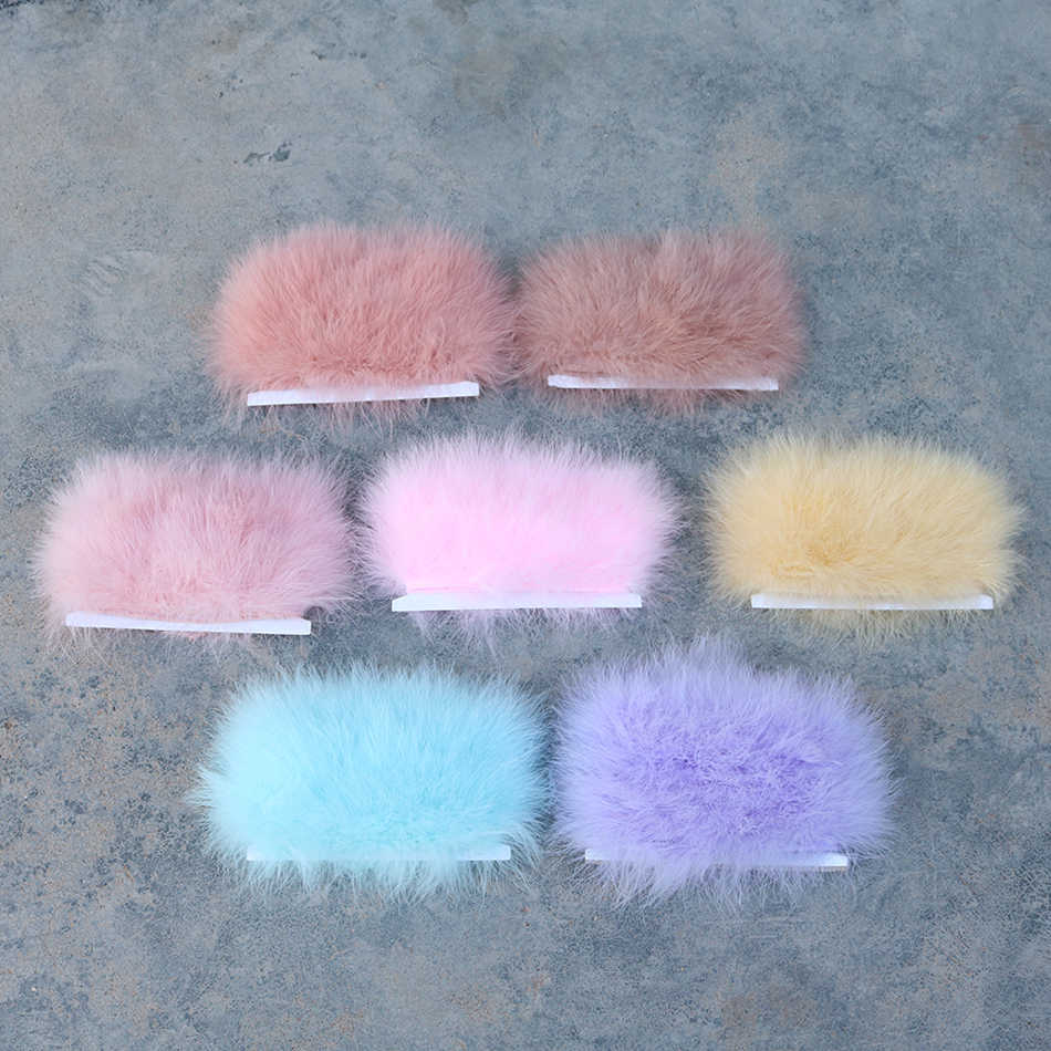 Costumes-Baby Pink Ws/&Wt 2Meters 6-8Width Turkey Marabou Feather Fringe Trim for Decoration DIY Craft