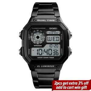 Image 2 - SKMEI haut de gamme montre de Sport de mode hommes 5Bar étanche montres bracelet en acier inoxydable montre numérique reloj hombre 1335