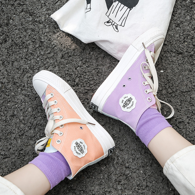 Discolored Canvas Shoes Winter New Casual Women's Shoes Color-matching Cross-strap Rubber Lace-up High-top Fashion Sneakers