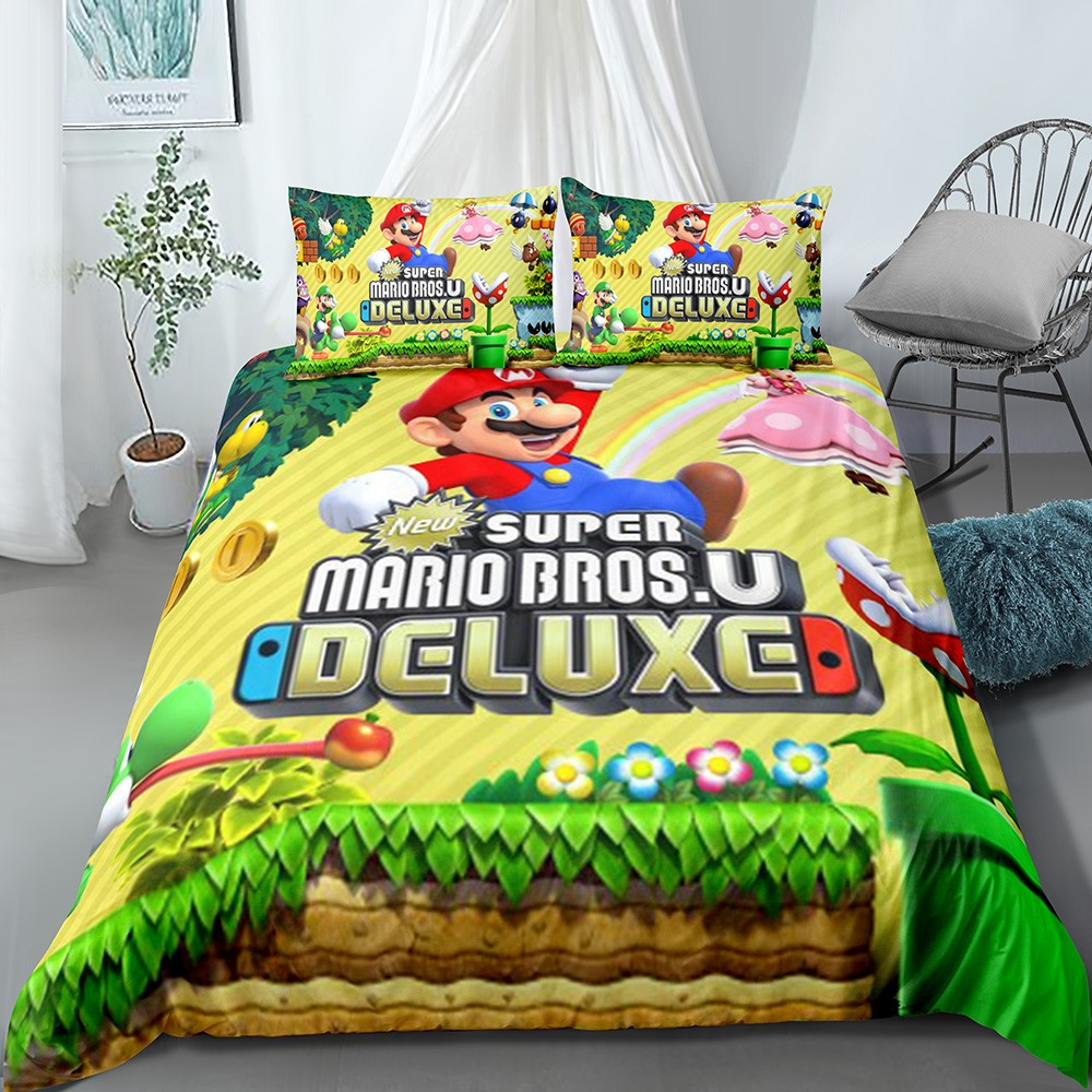 Soft Microfiber Duvet Cover Super Mario Brothers Jump Home Bedding Children Room Decor Bedspread Pillowcase Bed Sets Quilt Cover