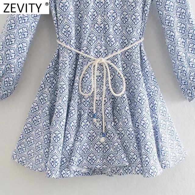 Zevity Women Vintage Totem Floral Print Big Swing Ruffles Mini Shirt Dress Female Chic Breasted Lace Up Sashes Vestidos DS8133 5