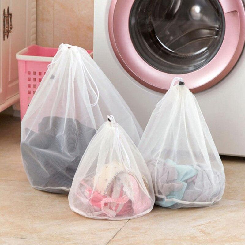 S/M/L Big Size Laundry Drawstring Mesh Net Bag Washing Machine Clothes Bra Aid Lingerie Pouch Bags New