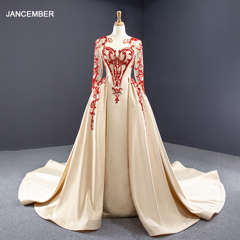J67047 Jancember Champagne And Red Mermaid Evening Dress Scoop Full Sleeve Beads Pattern Dress Long With Train вечерние платья