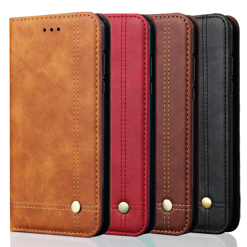 For <font><b>Realme</b></font> C3 Flip Case Luxury Leather Retro Stand Wallet <font><b>Phone</b></font> Cover For <font><b>OPPO</b></font> <font><b>Realme</b></font> C3 Magnetic Filp Case Business Casual Capa image
