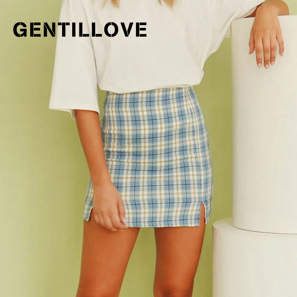 Gentillove Elegant Harajuku All-Match Short Skirt Women Korean Plaid Mini Skirt Sexy High Waist Side Split Vintage Skirt Bottom