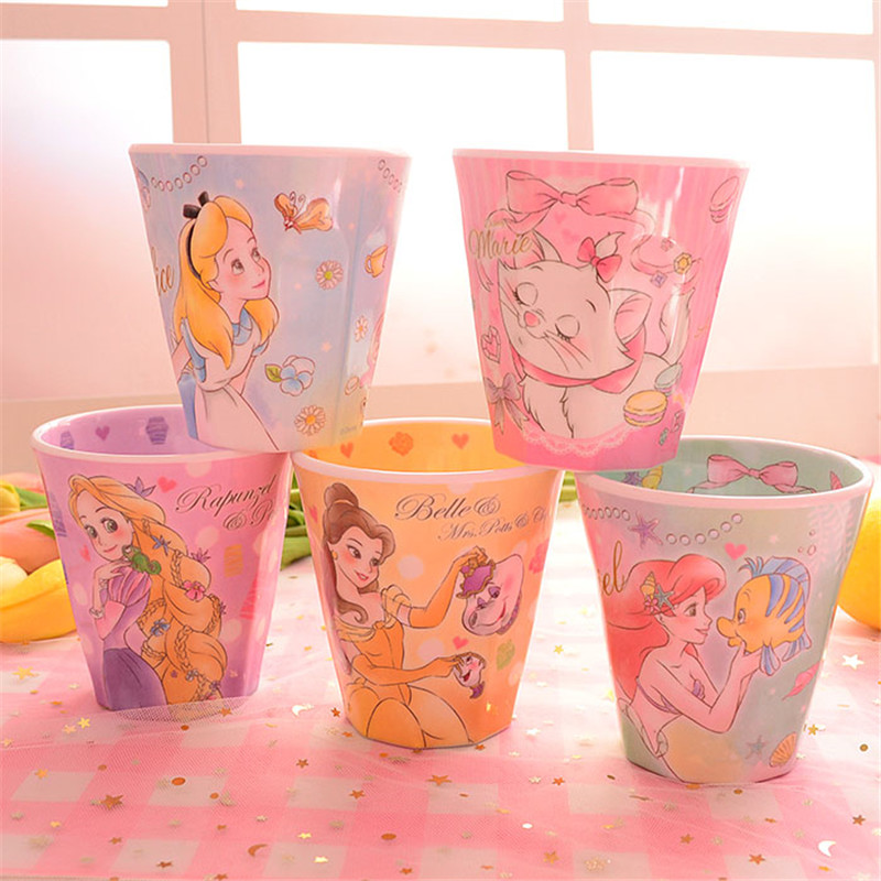 270ml Disney Alice Rapunzel Princess Cartoon Water Cup Plastic Melamine Resin Cup Mug Toothbrush Cup Gargle Cup Home Office Cup image