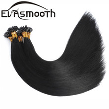 Real Human Hair Extensions Black Keratin Straight Nail Tips Hair�Capsule Fusion U Tip Remy Russian Natural Hair�1g/S