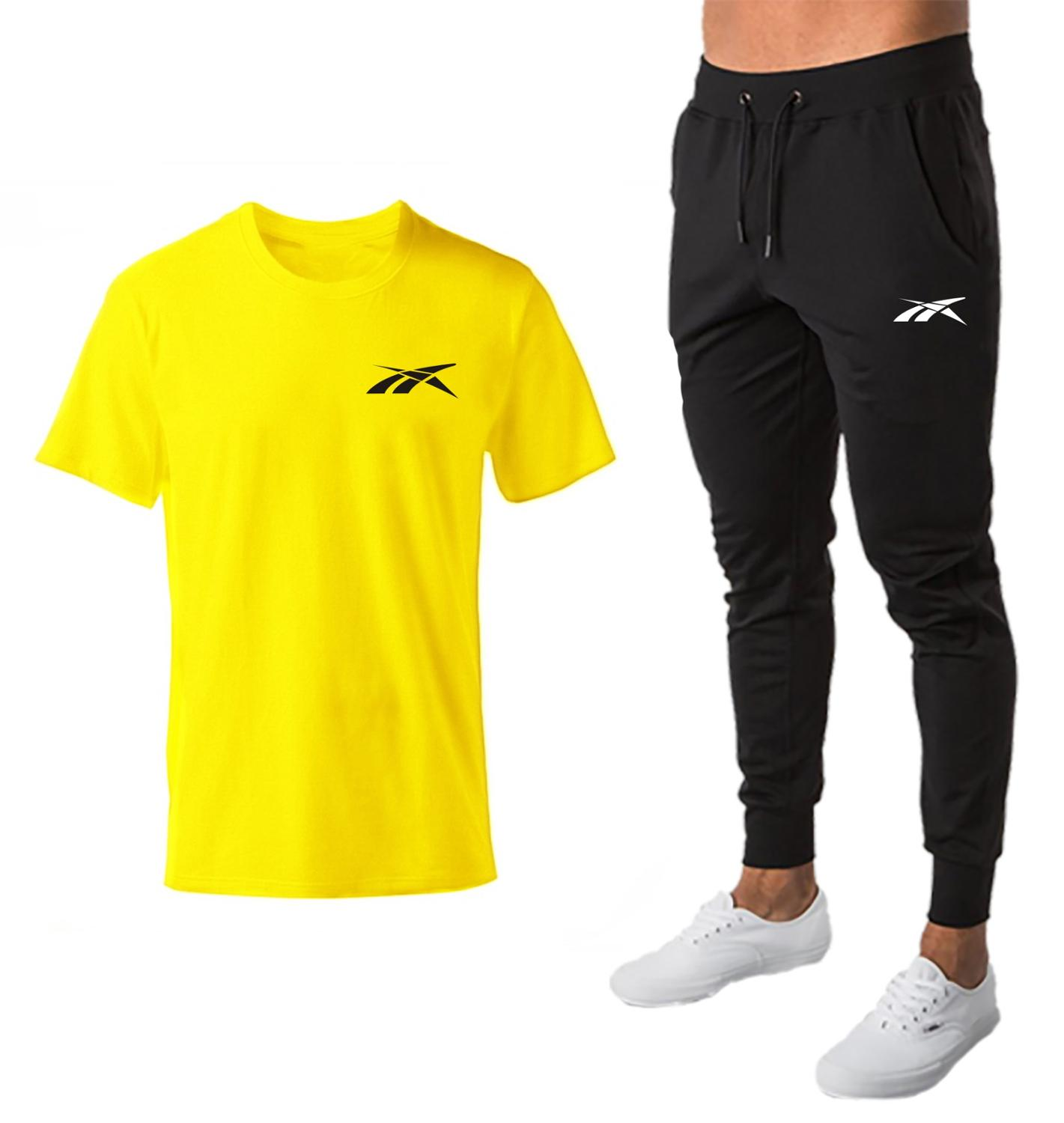 Fashion Two Pieces Mens Sets Hip Hop Tshirt Trousers  Casual Tracksuit Set Men Sweat Suit Brand Printing Sportswear Male