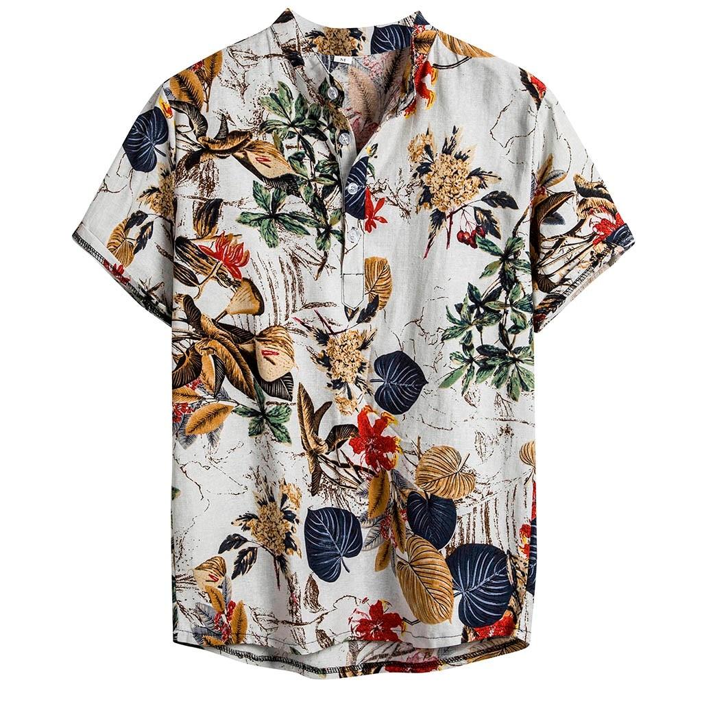 SELX Men Cotton Linen Baggy Long Sleeve Casual Ethnic Shirt