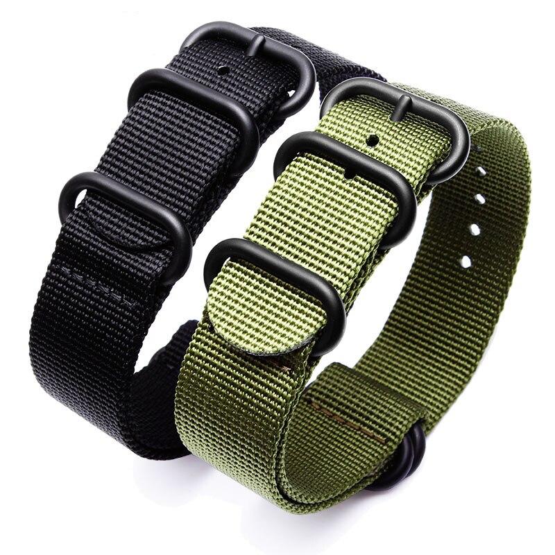 Correa de reloj deportiva negra verde militar ZULU nailon Nato para Seiko TIMEX malla de reloj de lona Hebilla negra 18/19/20/21/22mm, accesorio de reloj