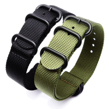 Sport Watchband Black Army Green ZULU Nato Nylon for Seiko TIMEX Canvas
