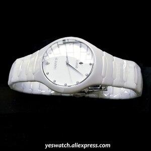 Image 3 - HAIYES الأسود السيراميك الرجال الساعات العلامة التجارية الفاخرة بسيطة كريستال ساعات كوارتز الرجال Relogio masculino
