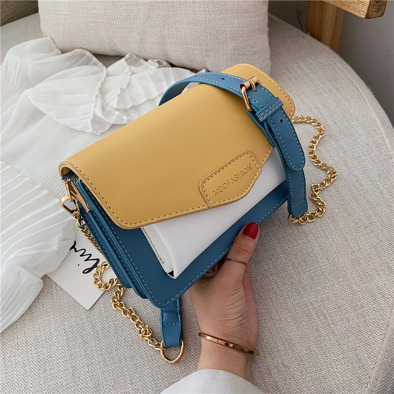 Buy Contrast color Leather Crossbody Bags For Women  Travel Handbag Fashion Simple Shoulder Messenger Bag Ladies Cross Body Ba for only 28.09 USD