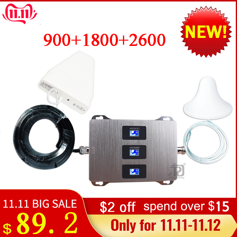 4g Signal Repeater900/1800/2600mhz DCS LTE GSM 2G 3G 4G Mobile Signal Booster +outdoor Antenna+2m Ceiling Antenna+15m Cable Suit