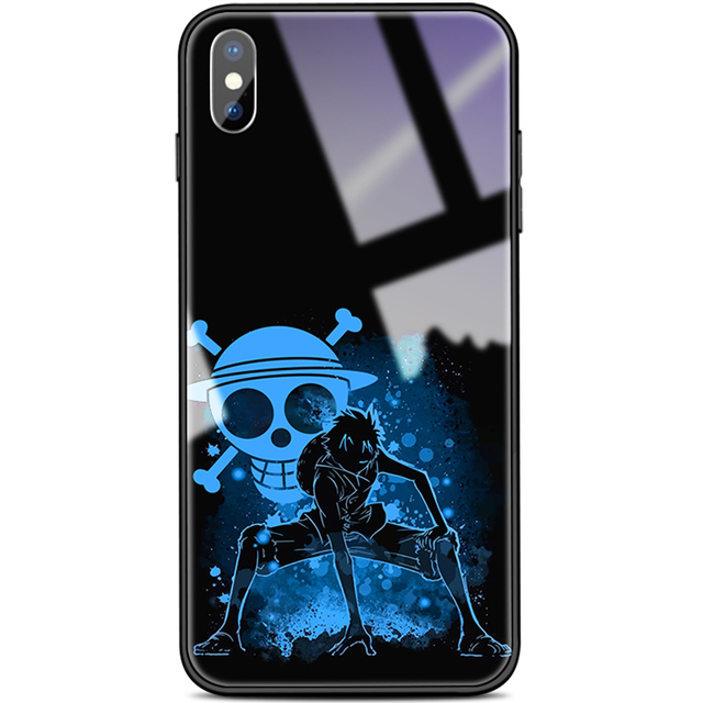 One Piece Luffy Tempered Glass Cover Case For iPhone Models