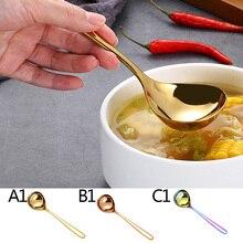 Ложка для супа из нержавеющей стали с длинной ручкой, круглая ложка для супа, каша, кухонная посуда, инструмент для приготовления пищи