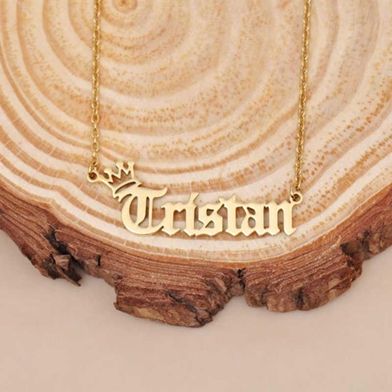 Custom Mahkota Nama Kalung Horror Font Pribadi Kalung Kalung untuk Wanita Vintage Perhiasan Aksesoris