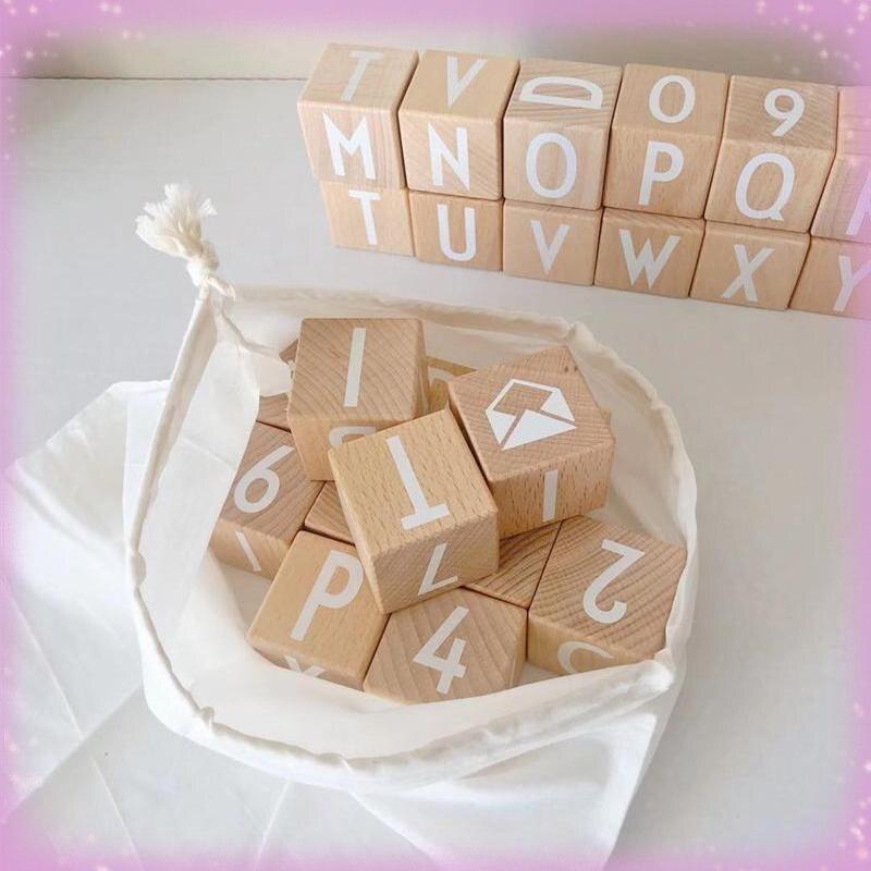 2021 latest children's wooden alphabet building blocks stacked Montessori educational toys for preschool childrenlearningletters