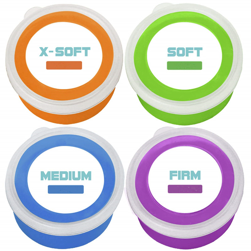 Therapy Putty Hand Exerciser Stress Balls For Adults | 4 Pack | Fingers Hands & Grip Strength Trainer Puddy | Extra Soft Soft Me