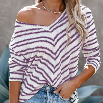 Oblique Shoulder Striped Women's Clothing Autumn Winter Casual Plus Size 5XL 6XL Loose Sweater Pullovers Female Tops Europe female costume emberens 4217 striped handsome casual with belt autumn winter российское production delivery from russia