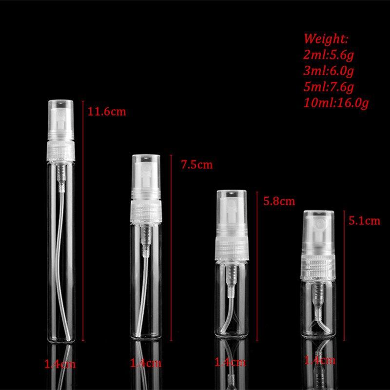 5pcs/pack 2ML 3ML 5ML 10ML Black Clear Mini Perfume Glass Bottle Empty Cosmetics Bottle Sample Test Tube Thin Glass Vials-1