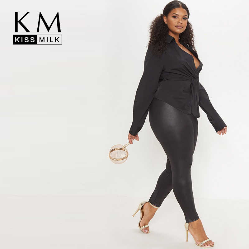 Kissmilk 2019 New Fashion Women  Large Size Deep V Long Sleeve Solid Color Temperament Thin Pleated Waist Top