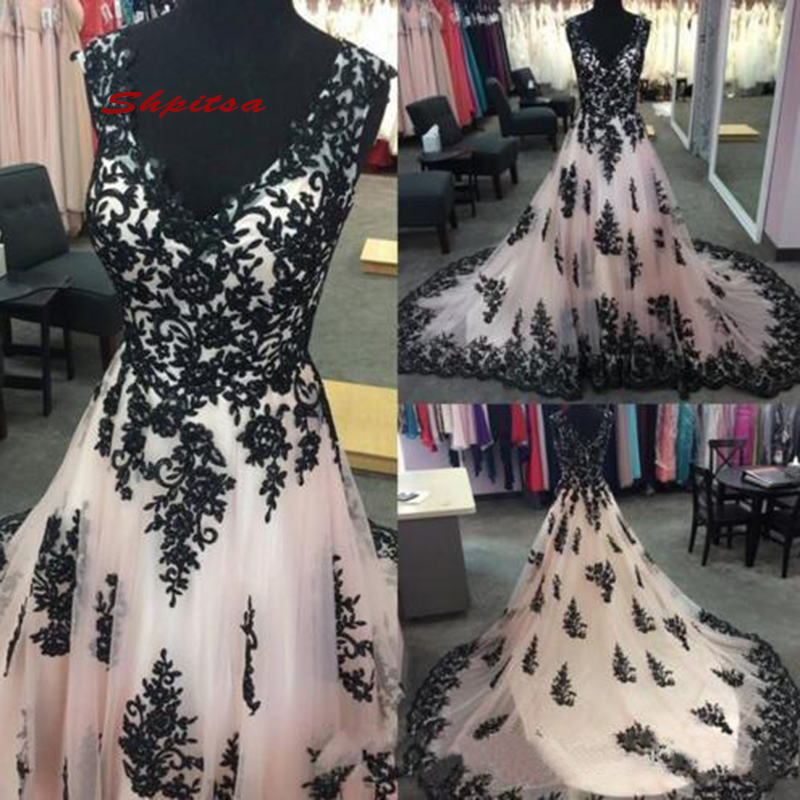 White And Black Lace Wedding Dresses Plus Size Ivory Tulle Women A Line Bridal Bride Gowns Dress