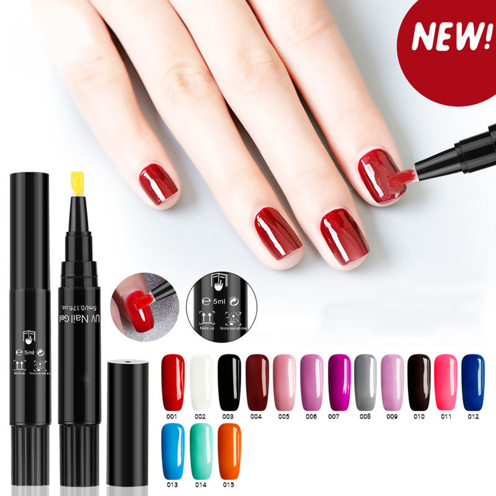 3 In 1 Gel Nail Polish Pen No Base Top Coat Need Soak Off UV LED Nail Varnish Nail Art Marker Pen