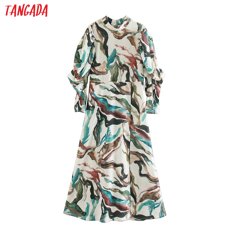 Tangada Fashion Women Painting Print Chiffon Dress Turtleneck Long Sleeve Ladies Elegant A Line Dress Vestidos XN318