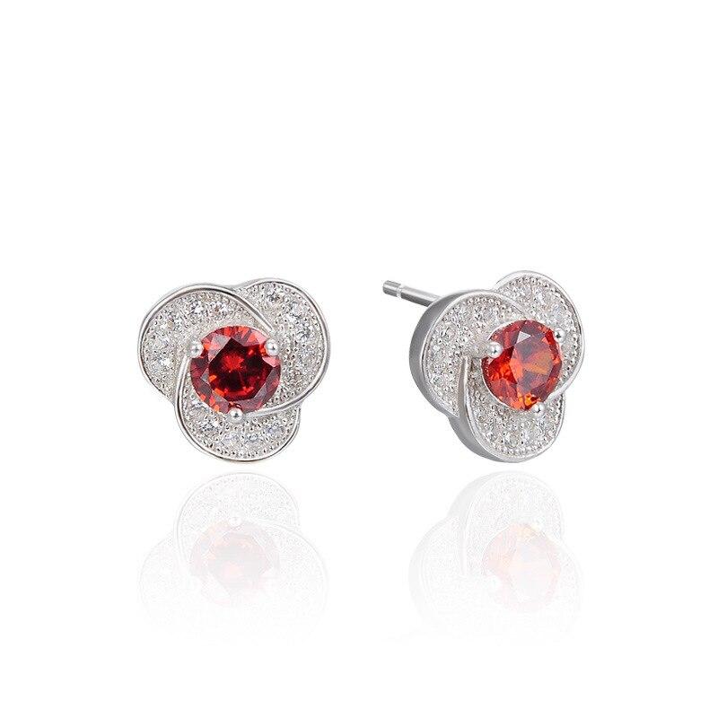 Version de bijoux populaires pour femmes 925 en argent sterling zircon boucles d'oreilles simple fleur boucles d'oreilles
