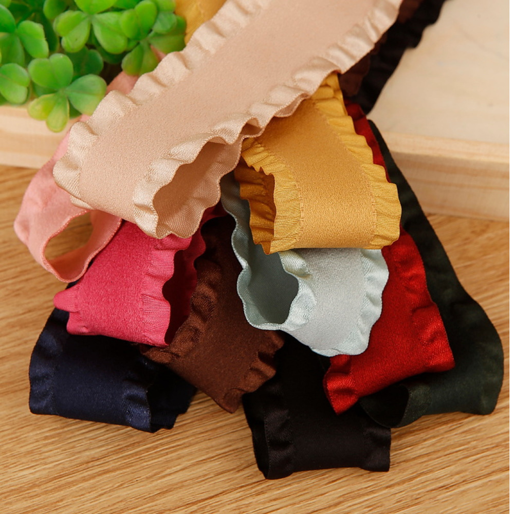 10 Yards Ribbon Accessories DIY Material Ruffle Lace Ribbon Suede Wooden Ear Clothing Accessories Wedding Evening Dress Fabric