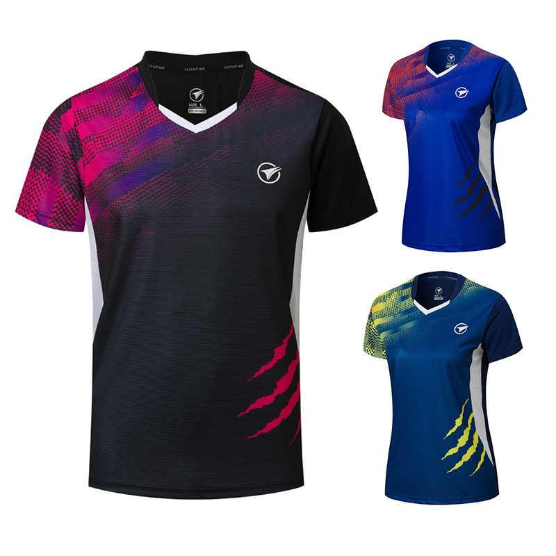 Новые футболки для бадминтона для мужчин/женщин, спортивная рубашка теннисные майки, футболка для настольного тенниса, быстросохнущие спортивные футболки для тренировок A121