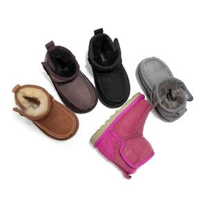 Image 2 - Geanuine Leather Australia Shoes 소년과 소녀를위한 아기 스노우 부츠 Kids Snow Boots 양모 리얼 모피 신발 Children 2020 new