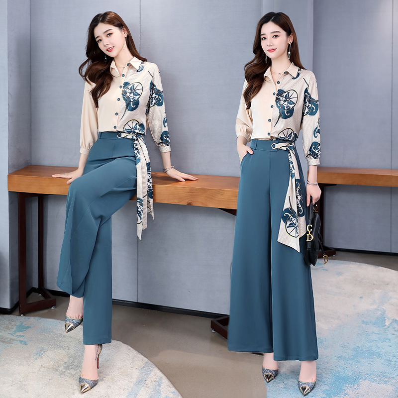 Graceful Loose Pants WOMEN'S Suit 2020 Spring New Style High-waisted Slimming Network Hong Yang Gas Goddess-Style Two-Piece Set