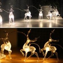 1.5m 3m led string luz a pilhas cervos decoração de natal luz 10led 20led cristal elk luzes de fadas natal casamento guirlanda