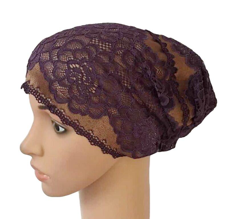 Image 3 - Women Muslim Elastic Lace Bandage Hat Muslim Inner Caps Islamic  Indian Turban Cancer Headwear Underscarf Hats Middle EastWomens  Skullies