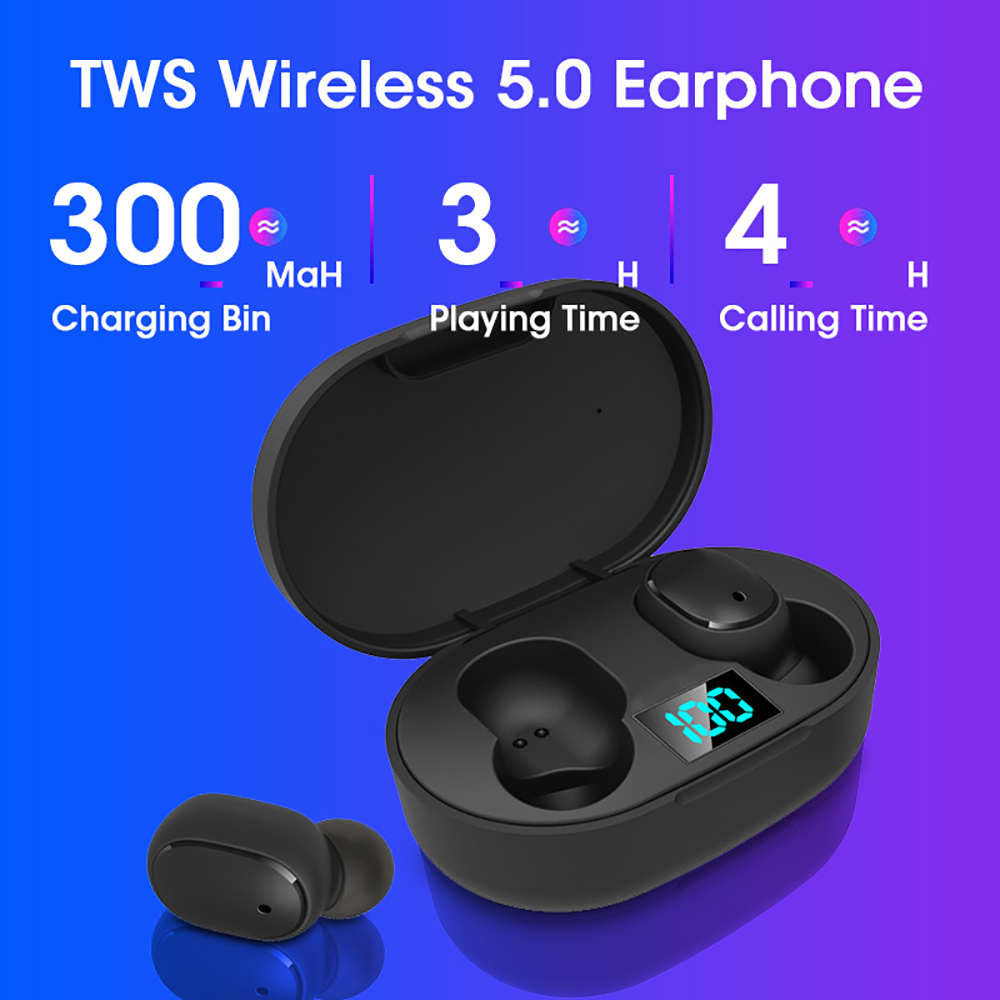 Upgraded E6S TWS Bluetooth 5.0 Earphones Wireless Earbuds LED Display Stereo Noise Cancelling With Mic Hands-free TWS Earphones