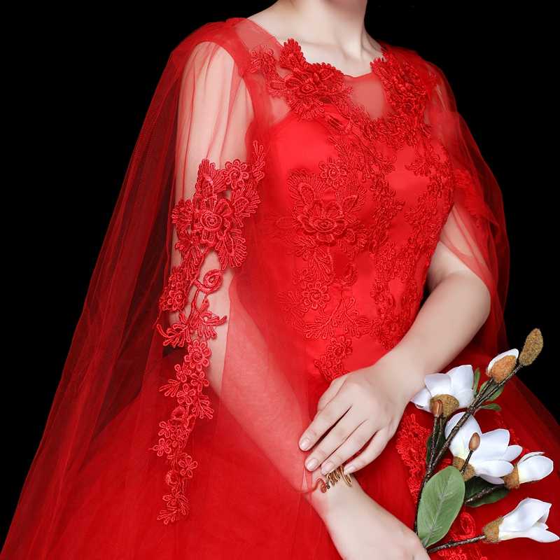 Red Long Shawl Wedding Dress O Neck Ball Gown Cheap Tulle Lace Applique Sequined Off Shoulder Vestidos De Novia Rojos
