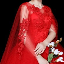 Red Long Shawl Wedding Dress O Neck Ball Gown Cheap Tulle Lace Applique Sequined Off Shoulder Vestidos De Novia Rojos цены онлайн