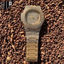 Hip Hop Mens Gold Watches Luxury Date Quartz Wrist Watches W