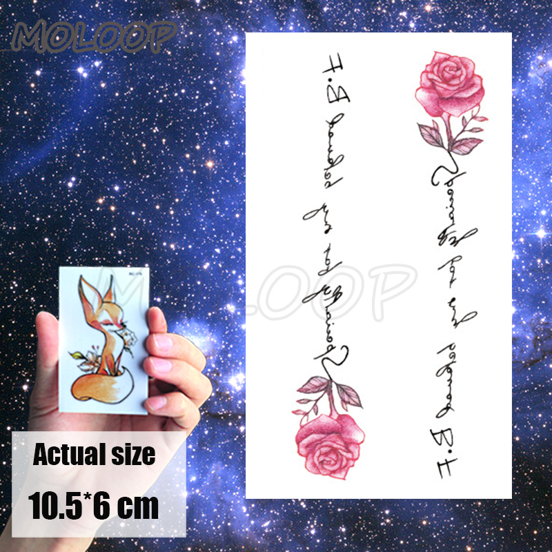 Tattoos Sticker pink rose plant flower letter Little Element Body Art Water Transfer Temporary Fake tatto for kid girl boy 1