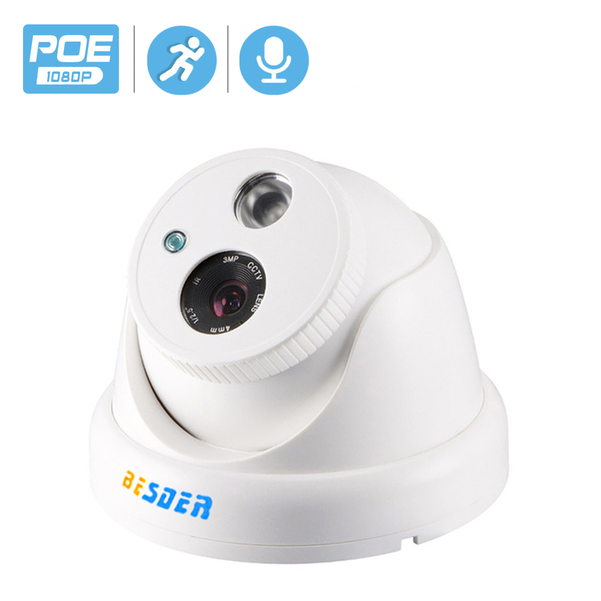 BESDER Internal Audio IP Camera 720P 960P 1080P ( SONY <font><b>IMX291</b></font> ) Indoor Dome Surveillance Video Camera IP DC 12V 48V PoE Optional image