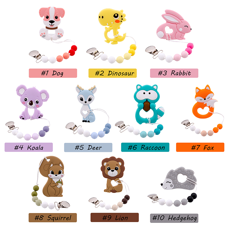 1PC Baby Silicone Teether Rodents Koala Pacifier Clip Chain Fox Perle Silicone Beads Teething Nipple Holder Silicone Nurse Gifts