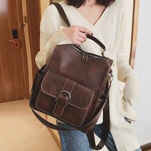 Image 2 - Модный женский рюкзак 2021, вместительные женские рюкзаки из искусственной кожи, Повседневная сумка для школы и колледжа, винтажная классическая сумка на плечо