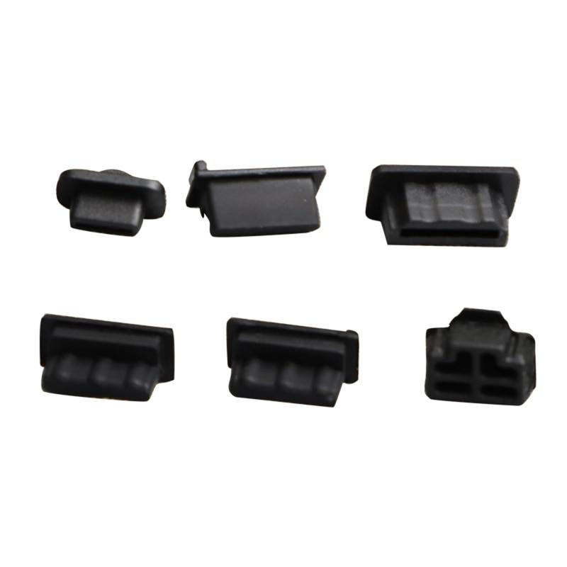 6pcs /7pcs Black Silicone Dust Plugs Set USB HDM Interface Anti-dust Cover Dustproof Plug for PS5 Game Console Accessories Parts 2