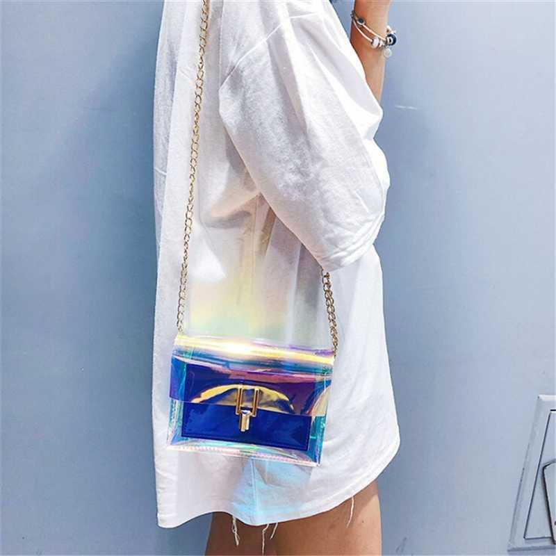 2020 Wanita Musim Panas Transparan Laser Tas Fashion Wanita Gaya Korea Bahu Tas PVC Tahan Air Tas Pantai