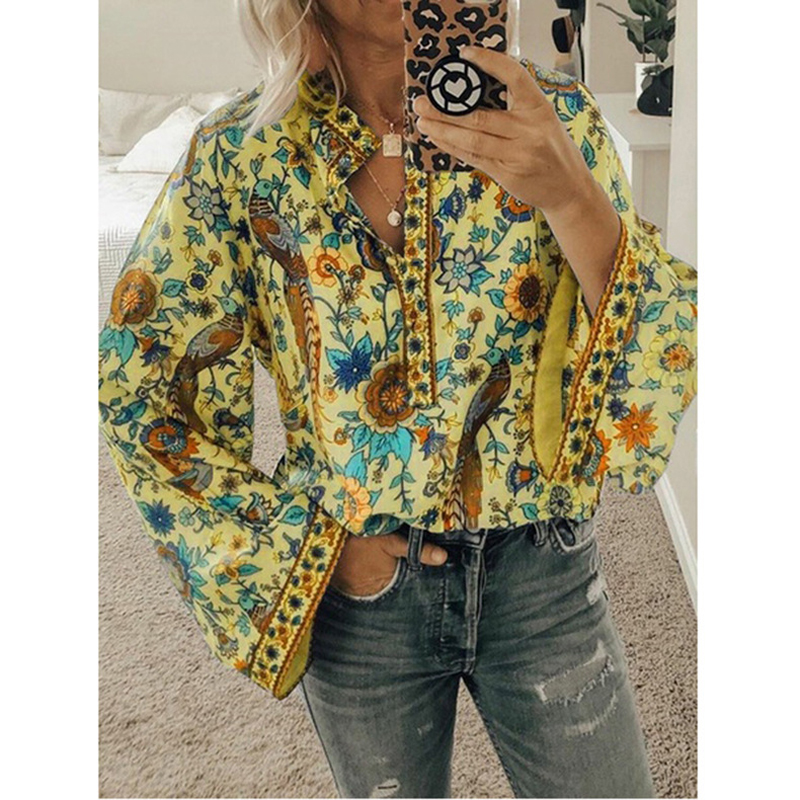 Lipswag 2019, блуза в стиле бохо, Павлин, цветочный принт, длинный рукав, рубашка, повседневная, v-образный вырез, женские топы, лето, Осень, шикарные...