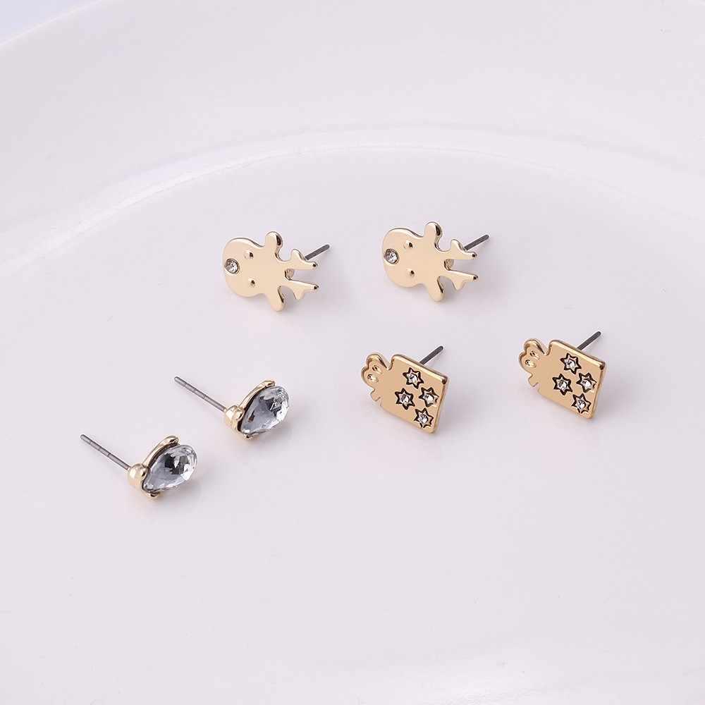 3 paires de boucles d'oreilles en Zircon wapiti européen et américain ensemble de boucles d'oreilles de noël Vintage Design métal boucles d'oreilles bijoux # BA