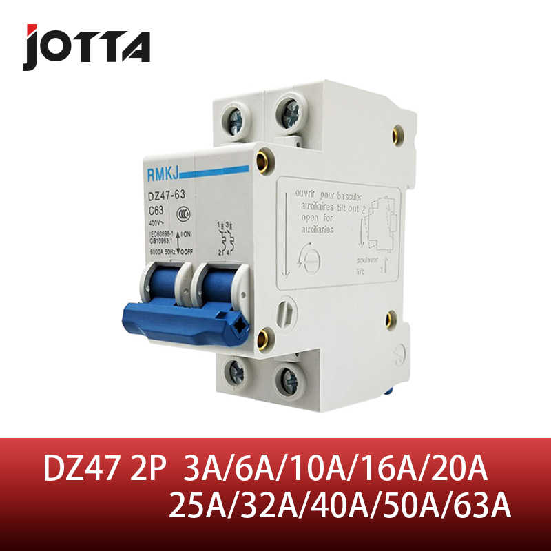 C45N 2 pole 3A/6A/10A/16A/20A/32A/40A/50A/63A 400V~ C type mini circuit breaker mcb Mounting 35mm din rail Breaking Capacity 6KA